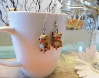 Brown Stone Owl Bead Dangle Earrings