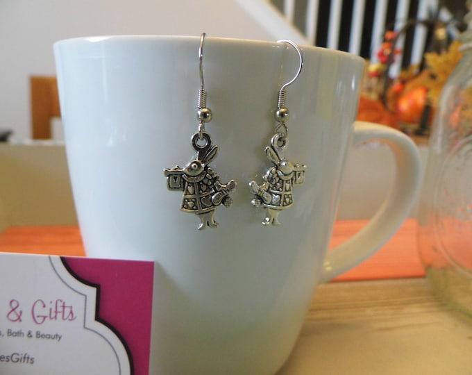 White Rabbit Wonderland Charm Dangle Earrings and Necklace Set