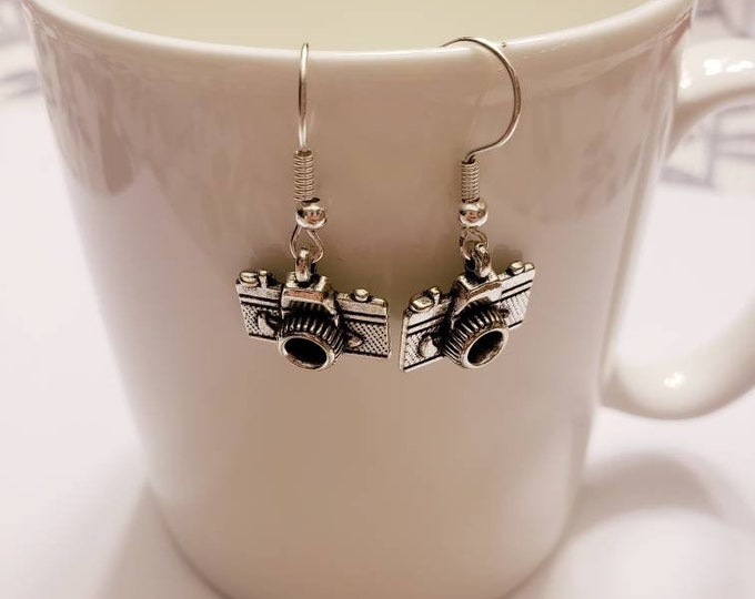 Stranger Things Inspired Camera Photography Silver Dangle Earrings