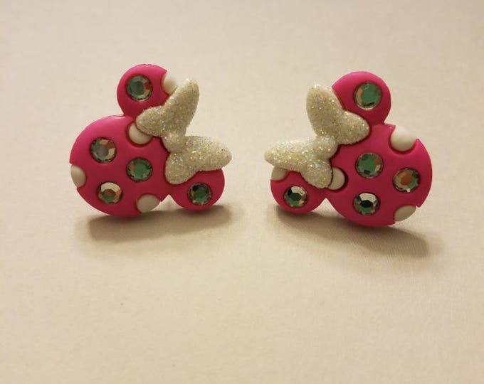 Glitter & Bling Minnie Mouse Ears Button Large Stud Earrings