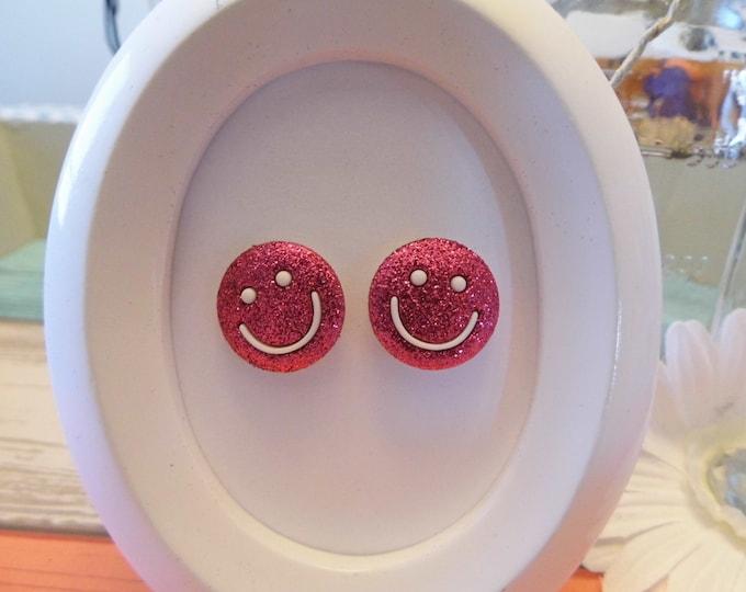 Glitter Smiley Face Stud Earrings