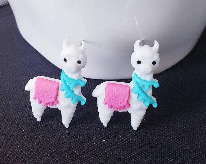 Bright Llama Button Stud Earrings