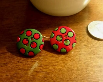 Christmas Polka Dotted Button Stud Earrings