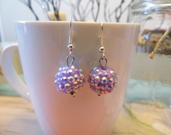 Light Purple Sparkle Disco Ball Dangle Earrings
