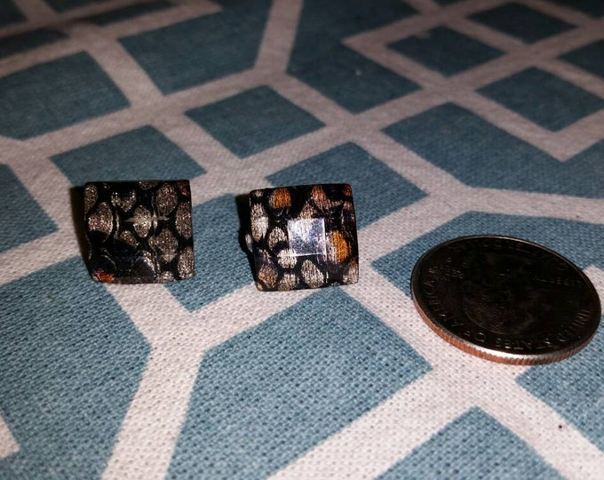 Jeweled Lace Square Stud Earrings