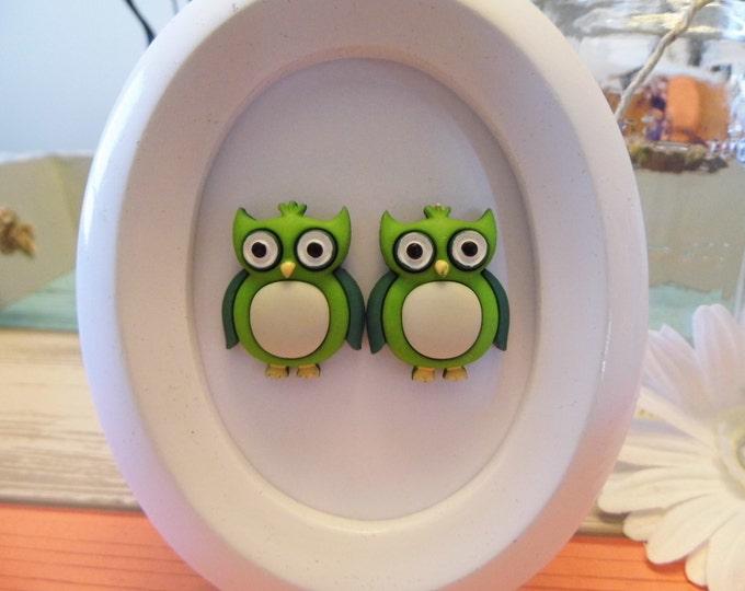 Pop Color Owl Stud Earrings