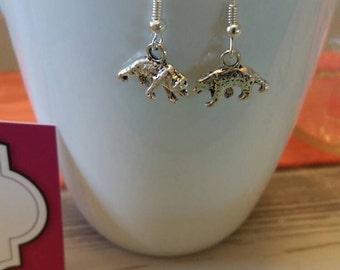 Silver Bear Charm Dangle Earrings