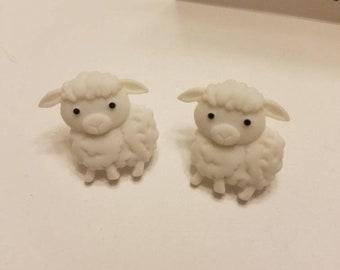 Cute Barnyard Babies Button Stud Earrings