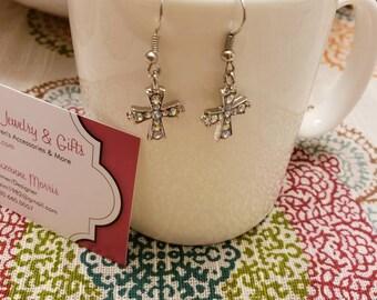 Gem Cross Earrings