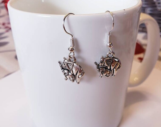 Dumbo Inspired Mother & Baby Elephant Silver Dangle Earrings
