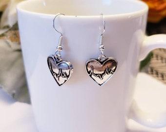 Love Heartbeat Silver Heart Charm Dangle Earrings