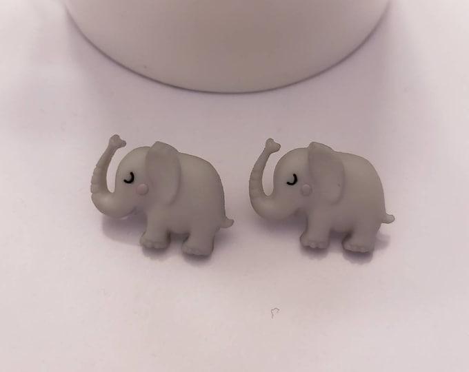 Sleepy Elephant Stud Earrings