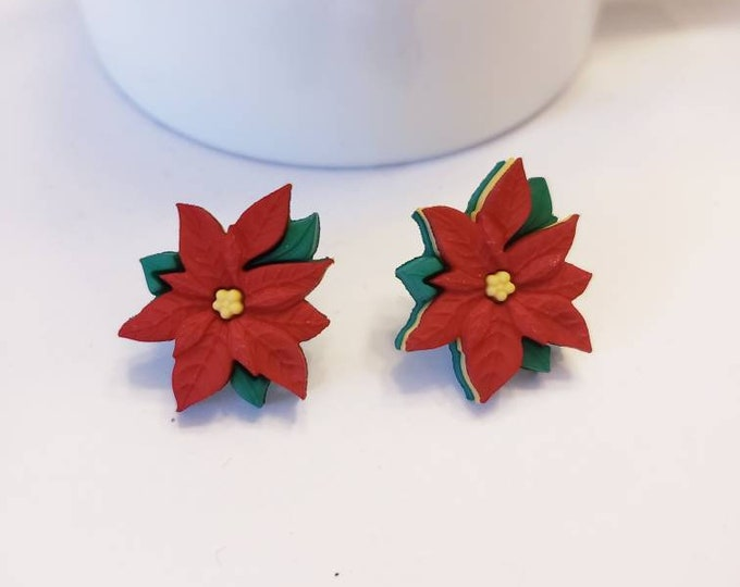 Holiday Poinsettia Stud Earrings