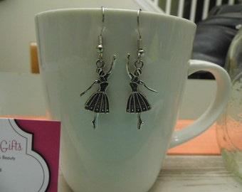 Twirling Ballerina Silver Dangle Earrings