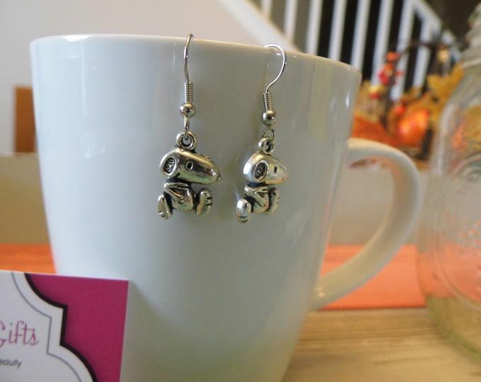 Snoopy Inspired Silver Charm Dangle Earrings
