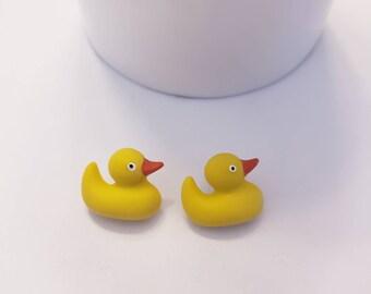 Rubber Duckie Button Stud Earrings