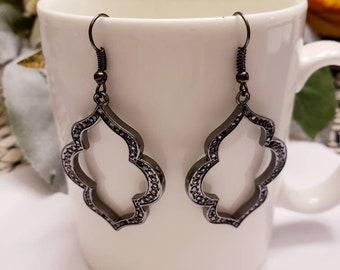 Metal Moroccan Shape Drop Dangle Earrings