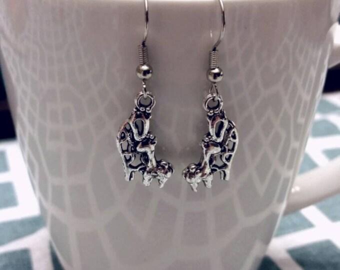 Loving Mother & Child Giraffe Charm Dangle Earrings