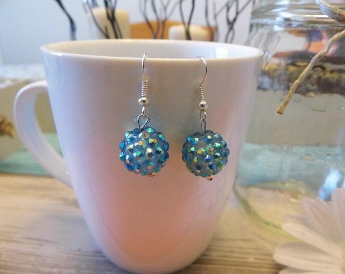 Teal Sparkle Disco Ball Earrings