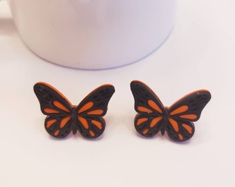 Monarch Black & Orange Butterfly Stud Earrings