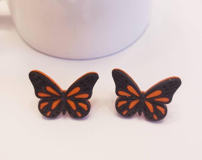 Monarch Black & Orange Butterfly Stud Earrings