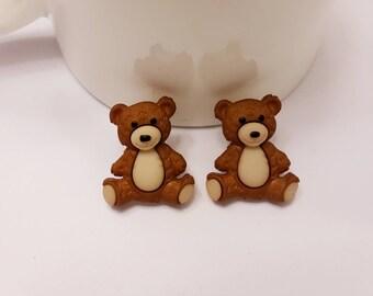 Cuddly Teddy Bear Button Stud Earrings