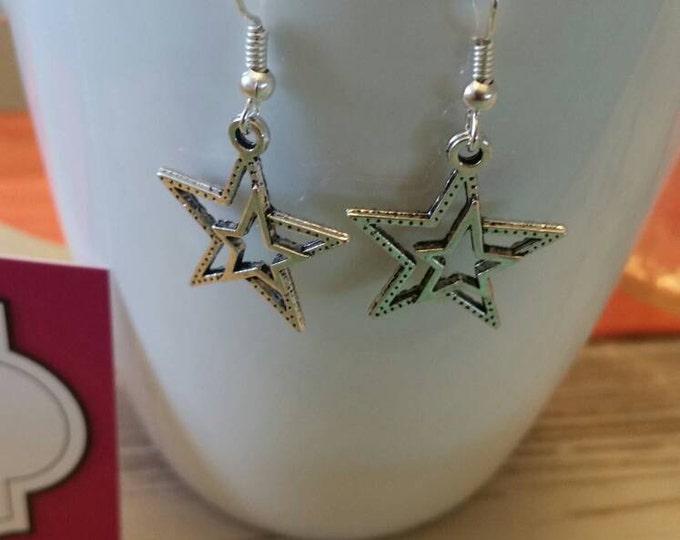 Double Star Charm Dangle Earrings