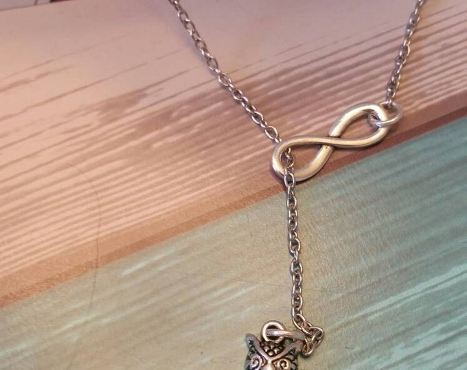 Owl on a Branch Silver Infinity Necklace