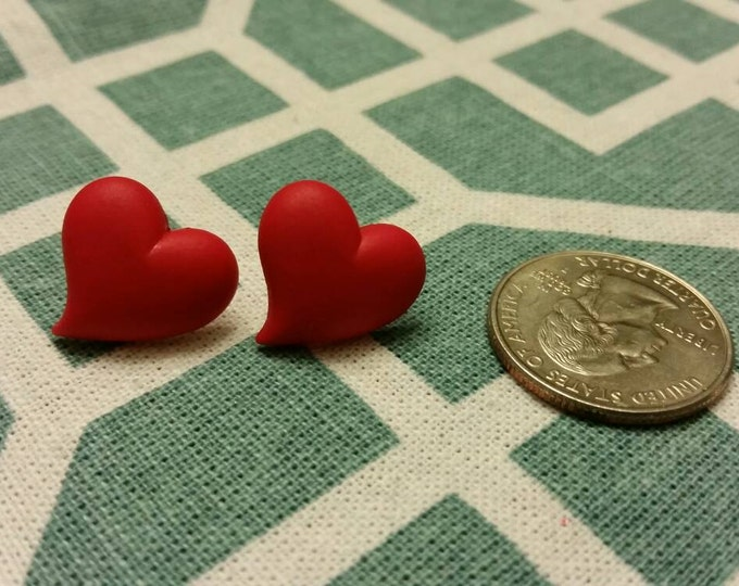 Valentine's Heart Button Stud Earrings - Various Sizes