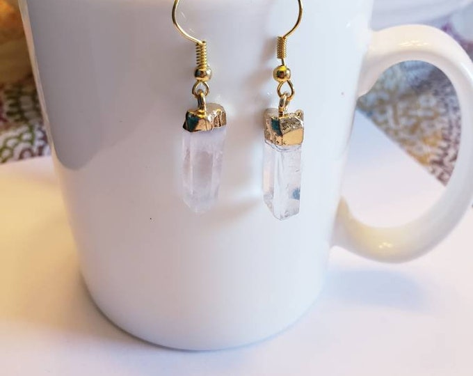 Natural Cut Clear Quartz Pendant Gold Earrings