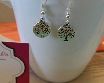 Tree Coin Charm Dangle Earrings