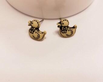 Mini Stuffed Duck Button Stud Earrings