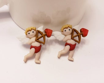 Valentine's Cupid Button Stud Earrings