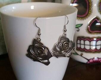 Silver Rose Charm Dangle Earrings