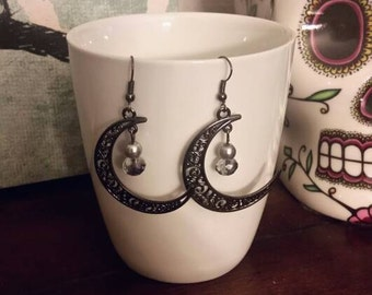 Black Scroll Crescent Moon with Bead Accent Charm Dangle Earrings