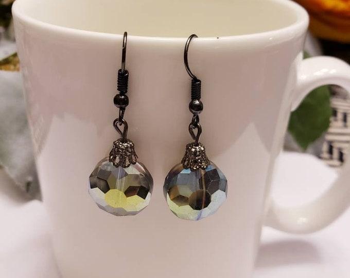 Black Metal Iridescent Crystal Drop Dangle Earrings
