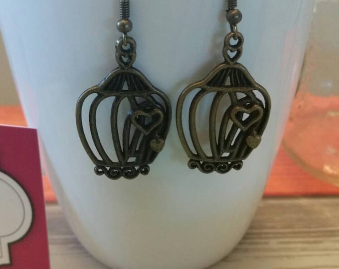 Bronze Birdcage Charm Dangle Earrings