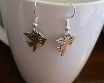 Silver Cupid Charm Dangle Earrings
