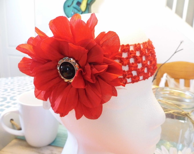 Crochet Square Lace, Chiffon Flower with Button Embellishment, Warm Colors