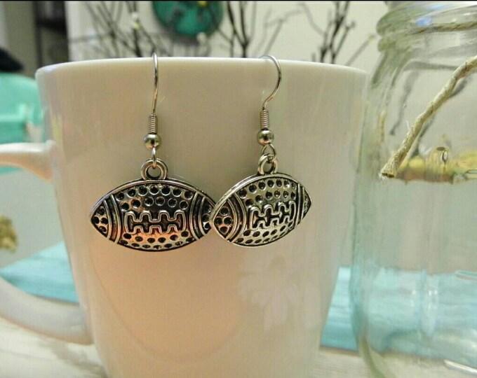 Silver Football Charm Dangle Earrings