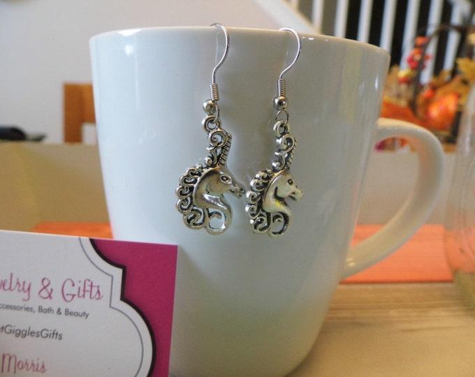 Unicorn Silver Charm Dangle Earrings