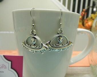 I Want to Believe Alien UFO Silver Dangle Earrings
