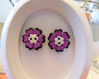 Skull Flower Button Stud Earrings