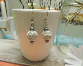 Textured Bead Dangle Earrings