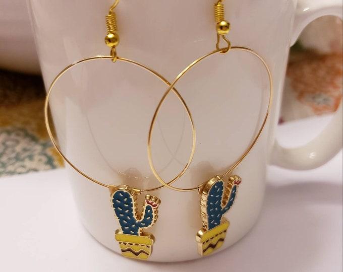 Cactus & Llama Enamel Gold Hoop Dangle Earrings