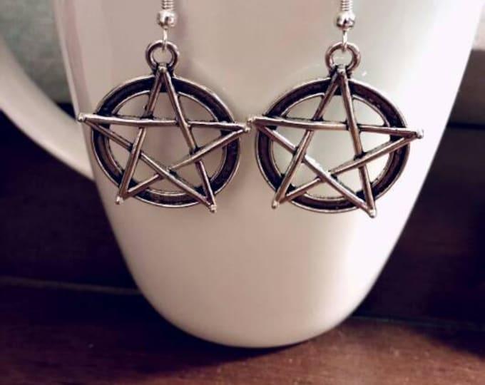 Supernatural Pentagram Silver Charm Dangle Earrings