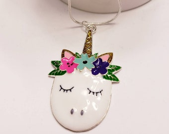 Unicorn Floral Chunky Enamel Pendant Silver Necklace