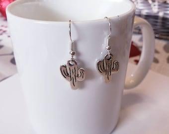 Cactus Silver Dangle Earrings