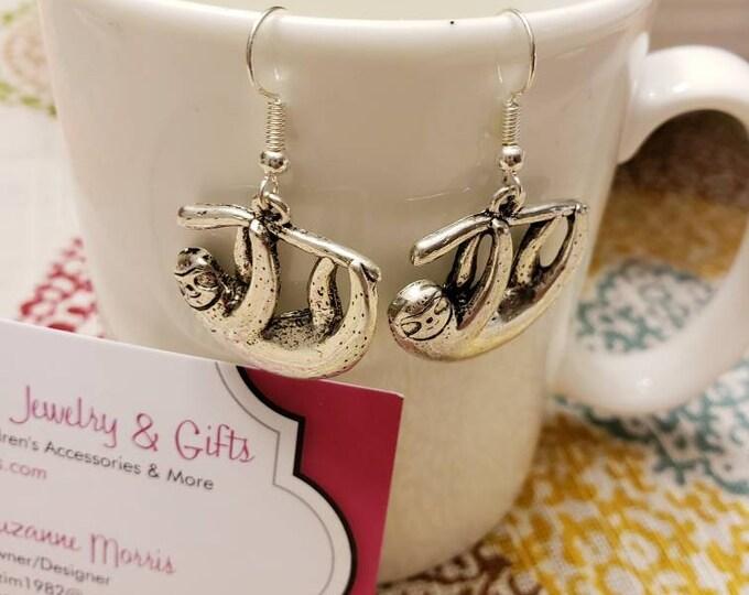 Silver Lazy Sloth Dangle Earrings