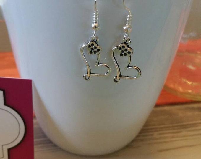 Double Heart Charm Dangle Earrings